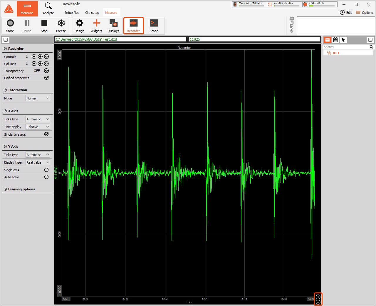 Audio signal recorder in Dewesoft X data acquisition software
