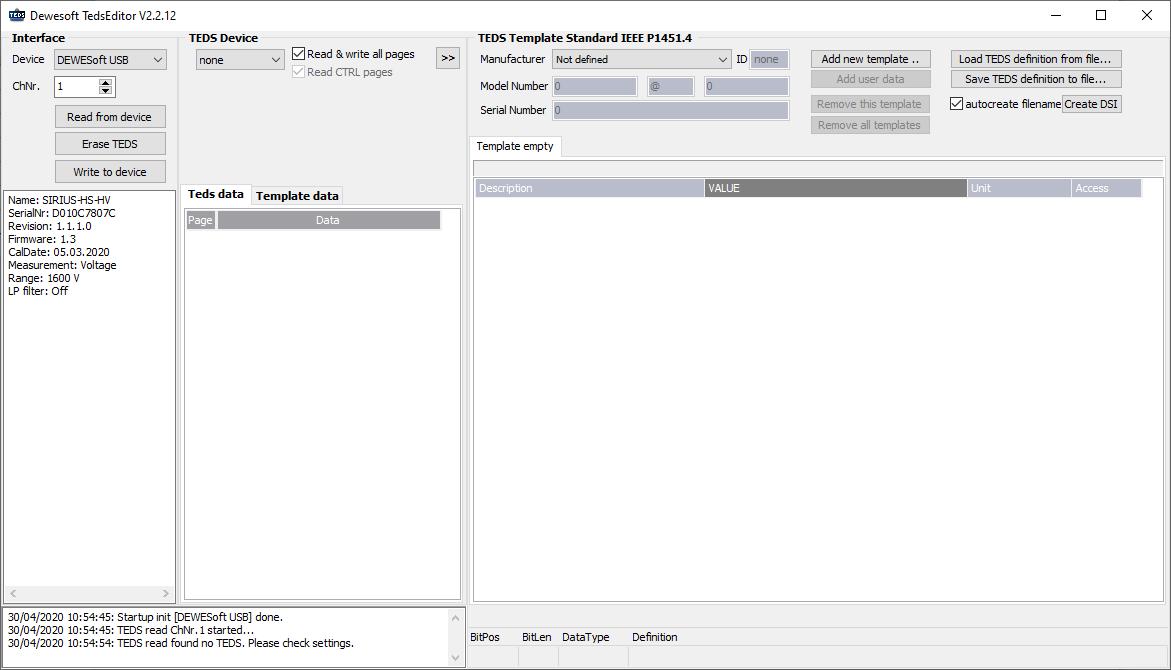 Dewesoft TEDS editor software