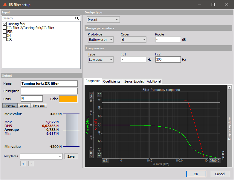 Filtering setup inside Dewesoft X Data Acquisition Software