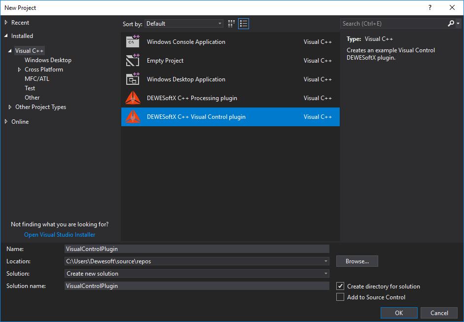 DewesoftX Visual Studio plugin