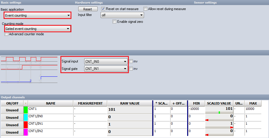 Geted event counting setup screen inside Dewesoft X DAQ software