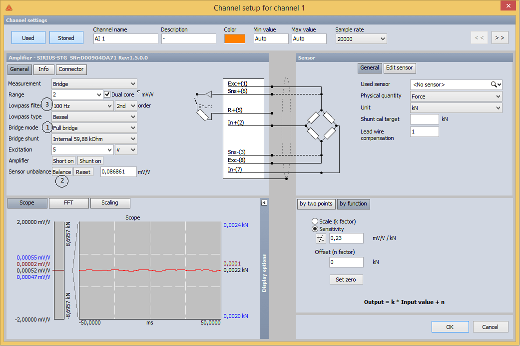 Strain gage load cell channel setup inside Dewesoft X DAQ software